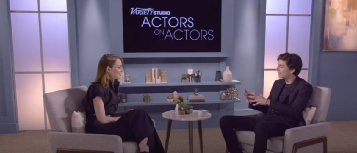 Emma Stone and Timothee Chalamet interview each other.