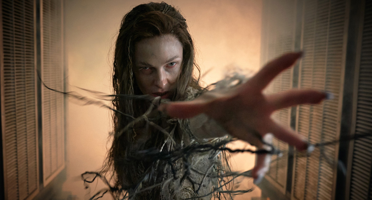 """Rebecca Ferguson as the evil sorceress Morgana le Fay in, """"The Kid Who Would Be King."""""""
