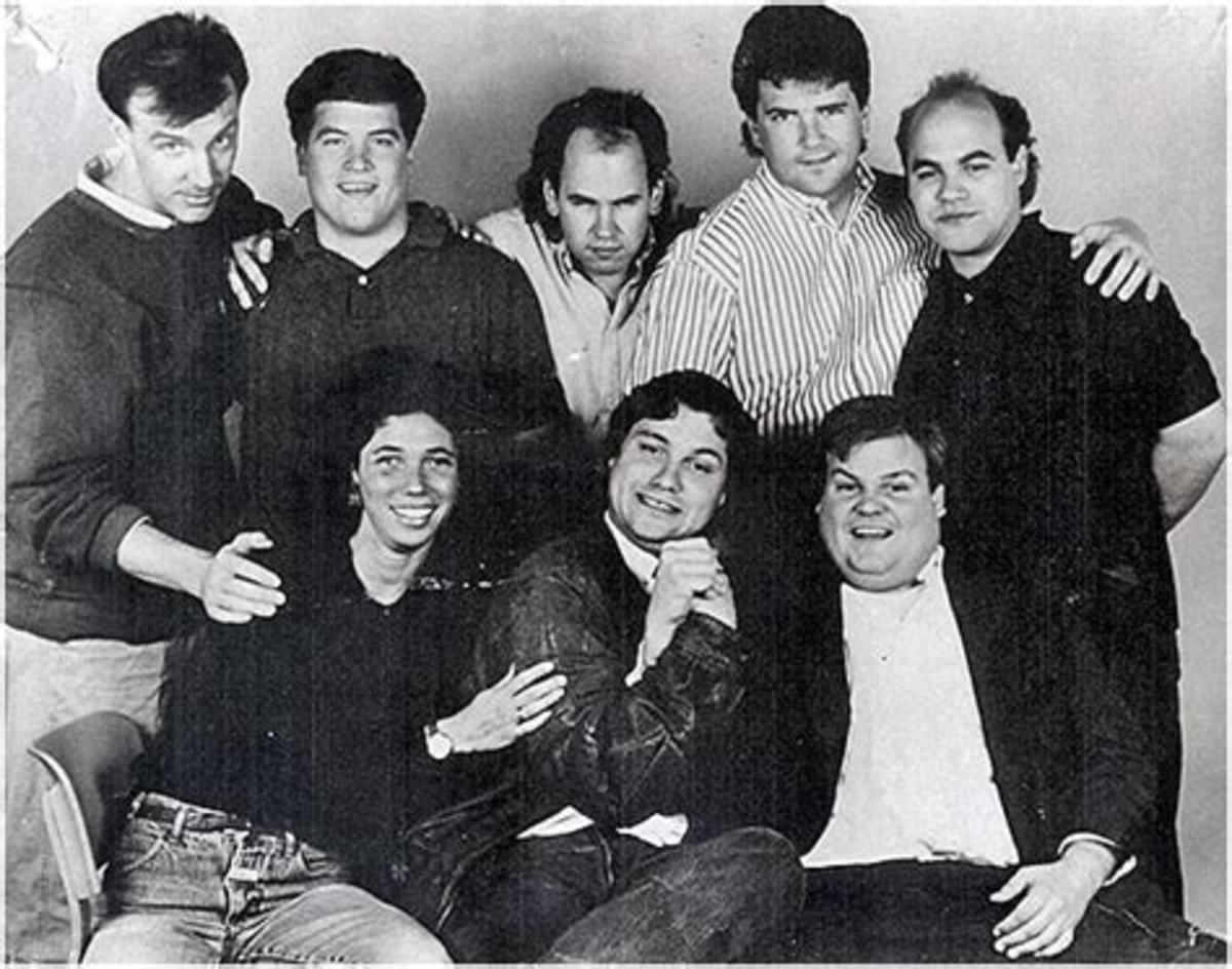 Chris Farley with SNL cast