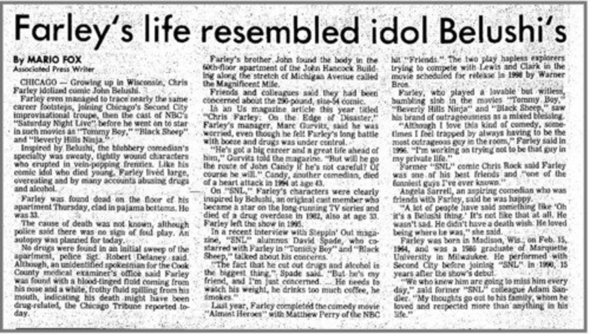 Chris Farley Death newspaper article
