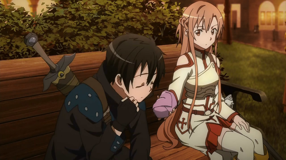 Asuna offers Kirito a sandwich while they investigate a case of another player's murder.