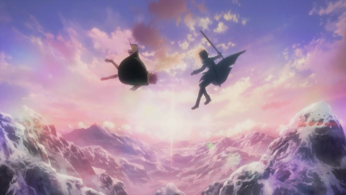 Kirito and his new blacksmith friend Lisbeth admire the view after defeating a dragon monster.