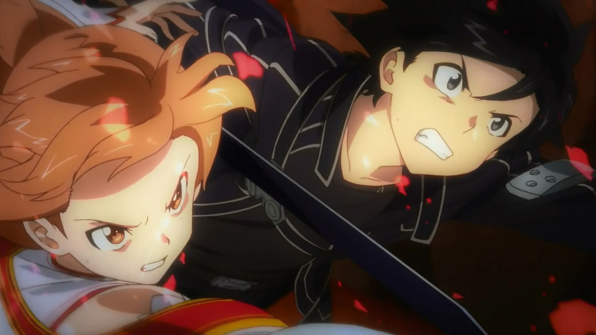 Kirito and Asuna team up to fend off the ferocious and nigh-unstoppable Skull Reaper boss.