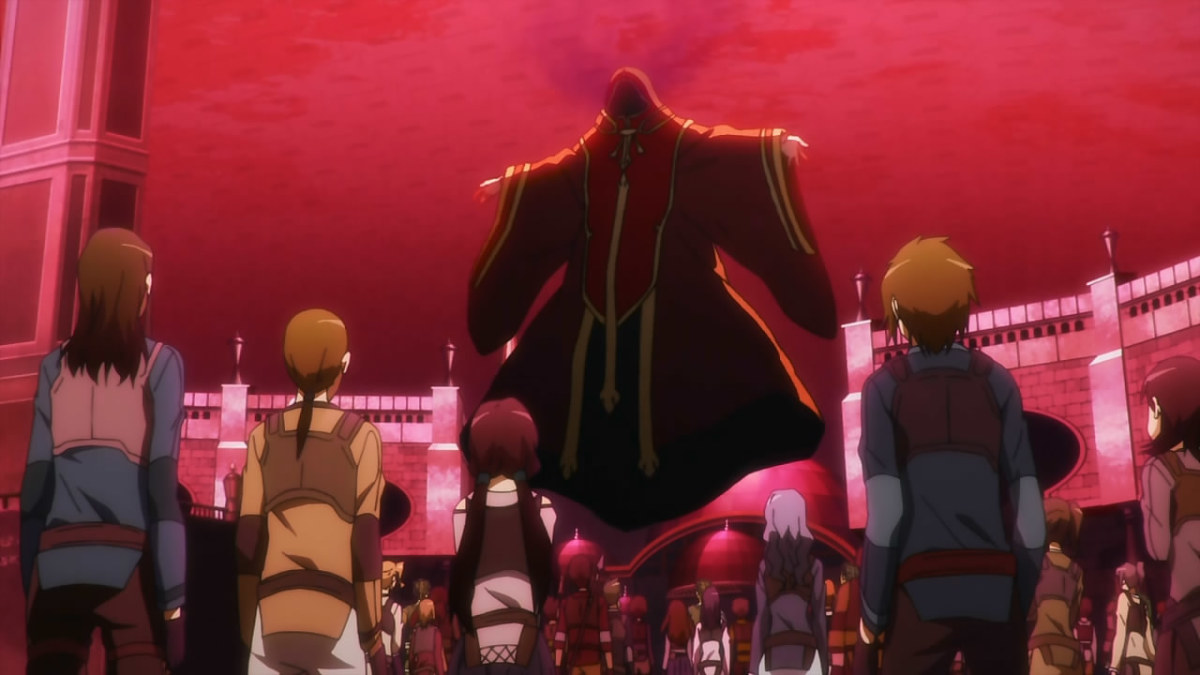 Kayaba Akihiko, the creator of the titular Sword Art Online, reveals to all players that they are now stuck inside the deadly game.