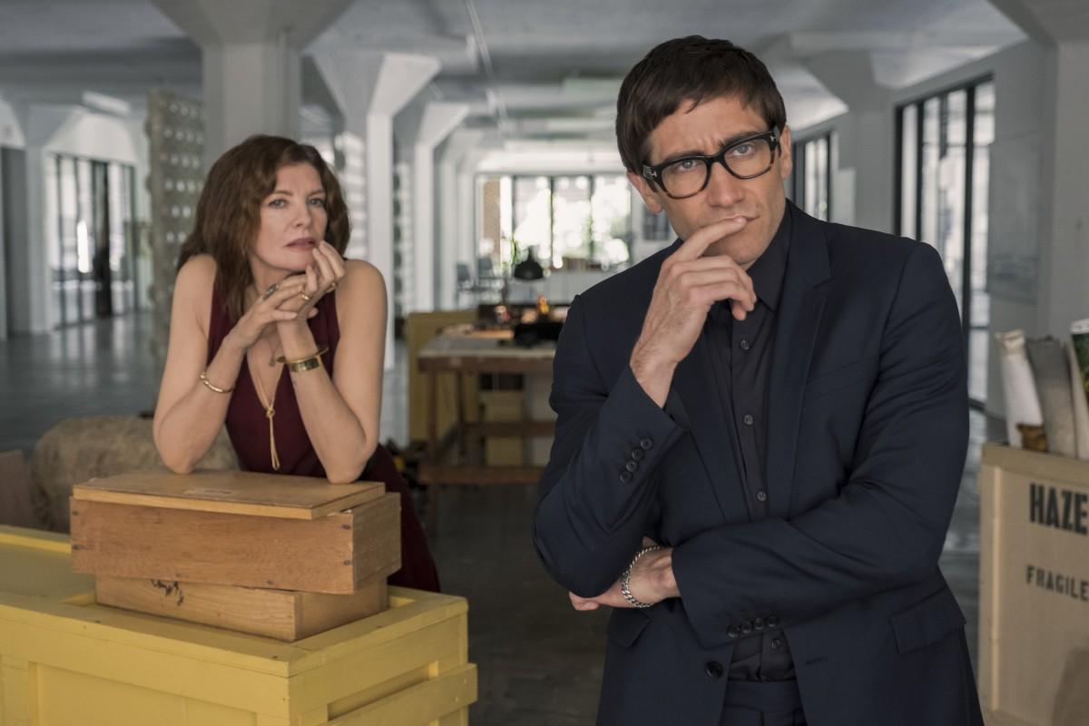 """Rene Russo and Jake Gyllenhaal as Rhodora Haze and Morf Vandewalt in, """"Velvet Buzzsaw."""""""