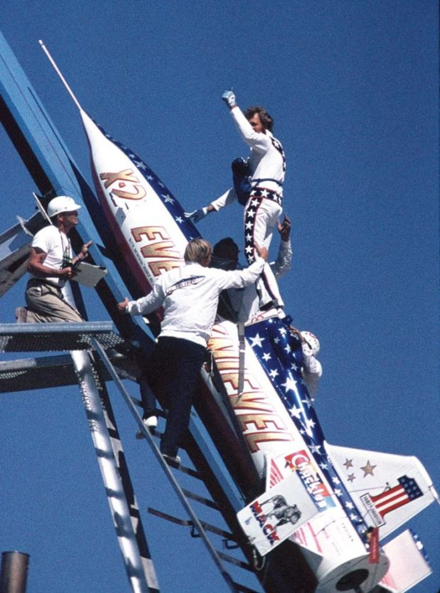 Evel Knievel right before Grand Canyon jump