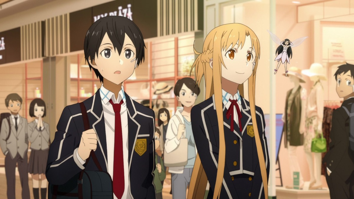 Kirito, Asuna and Yui listen to Silica singing a song by Yuna.