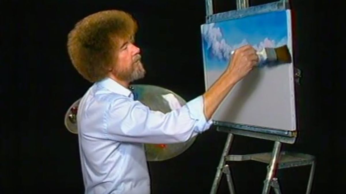 Bob Ross painting during The Joy of Painting
