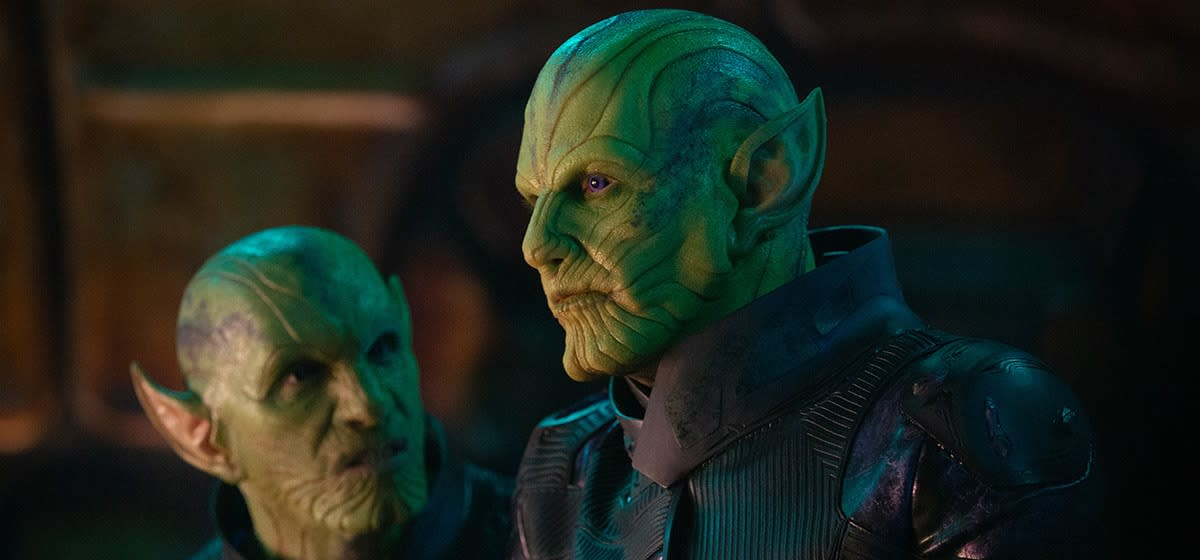 "Ben Mendelsohn as the Skrull Talos in, ""Captain Marvel."""