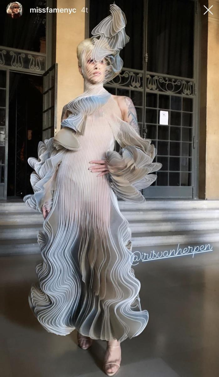 Miss Fame dressed in Iris Van Herpen Haute Couture for Paris Fashion Week, Jan 2019.