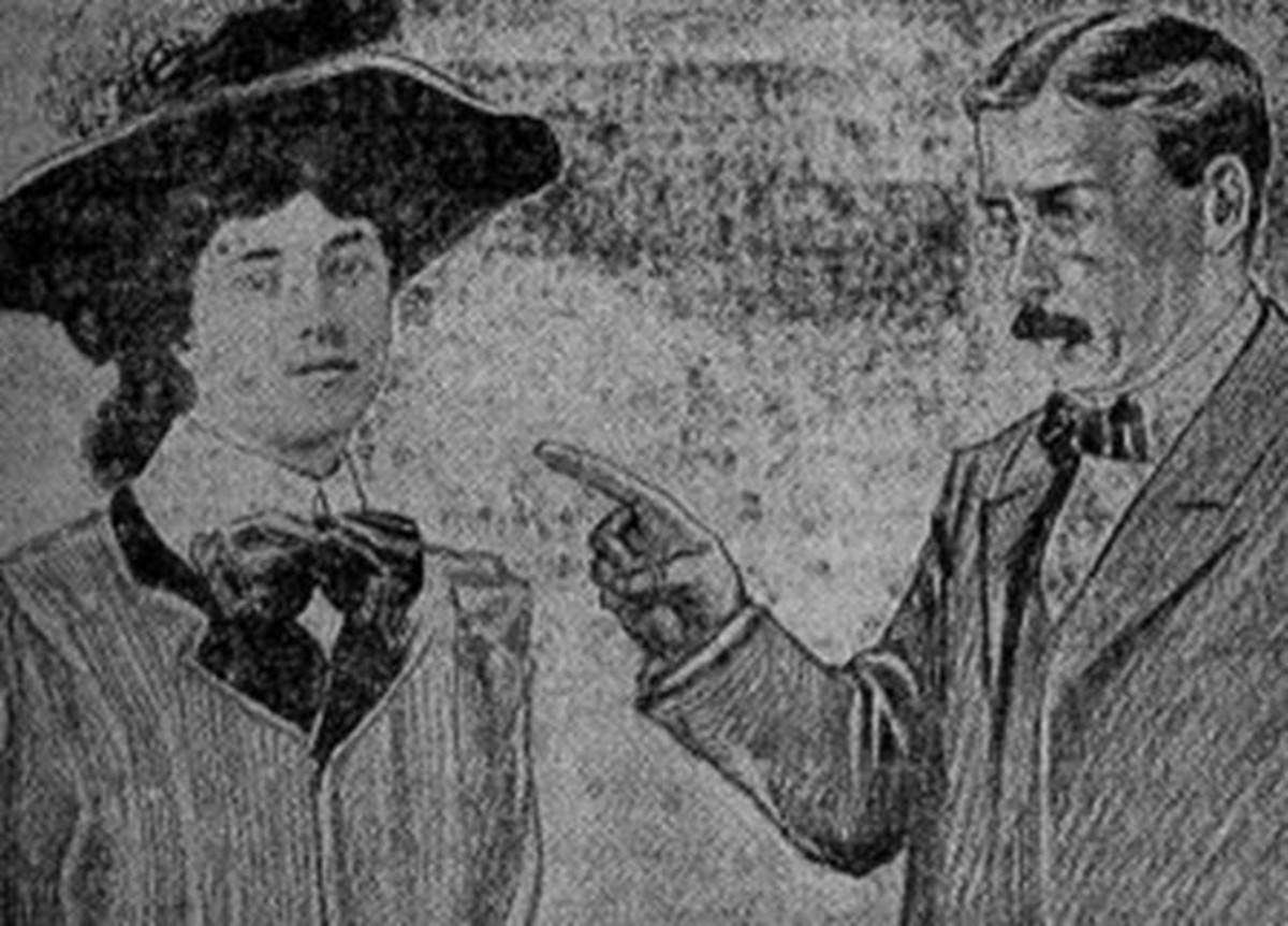 Evelyn Nesbit Being Cross Examined During the Trial. From a Contemporary Newspaper Illustration