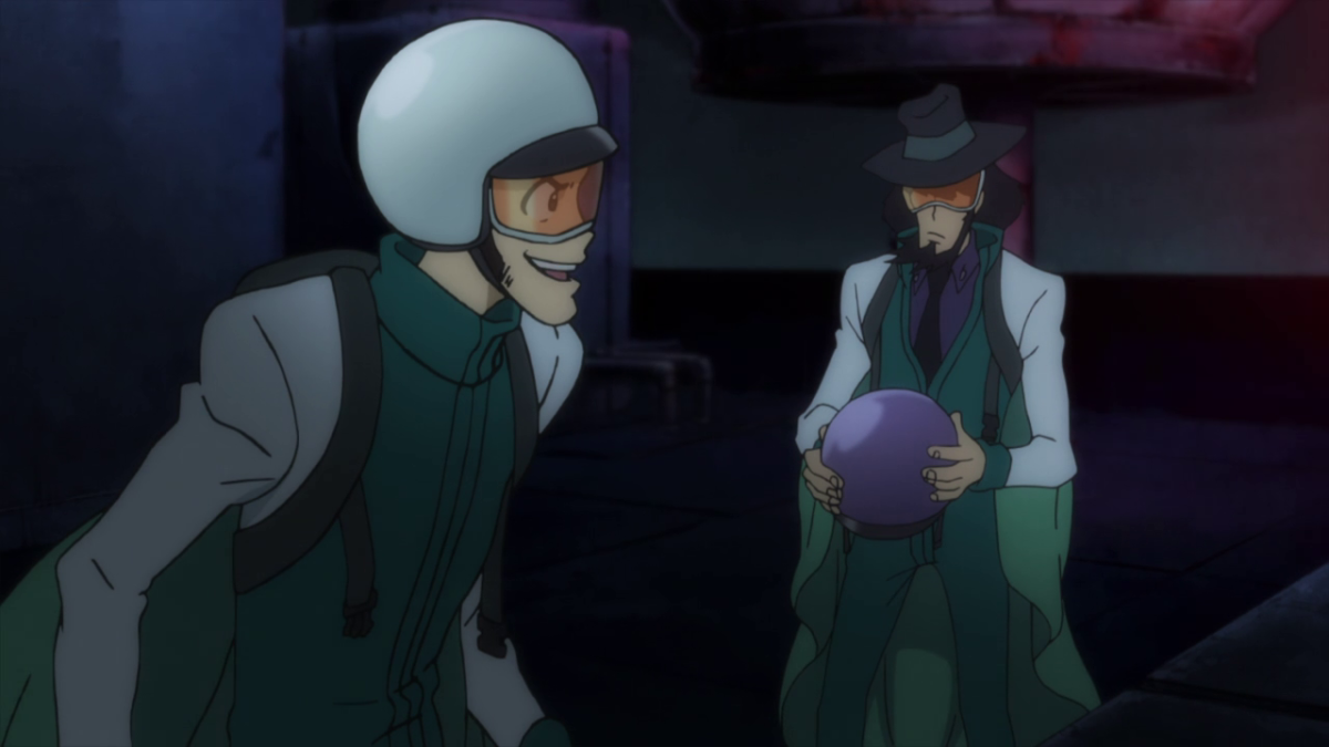 Par for the course, Lupin and Jigen don wingsuits as part of their daring break-in.