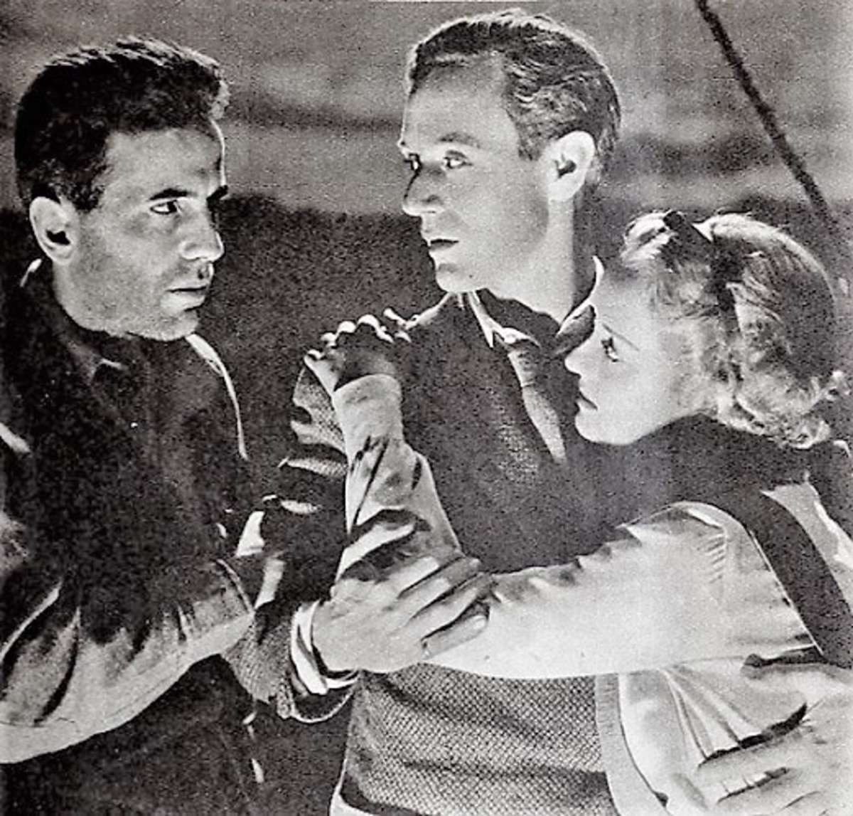 "Humphrey Bogart, Leslie Howard, and Bette Davis in ""The Petrified Forest"" screenshot."