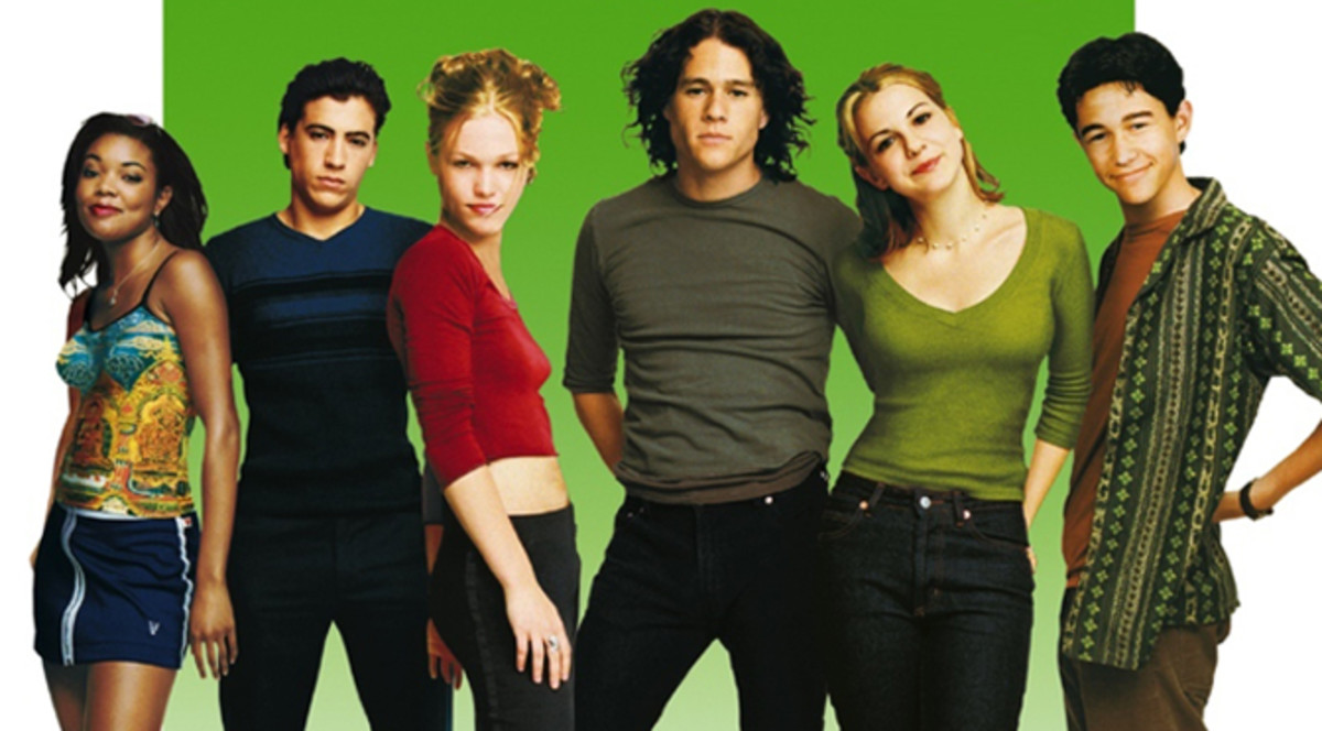 (From left): Gabrielle Union, Andrew Keegan, Julia Stiles, Heath Ledger, Larisa Oleynik and Joseph Gordon-Levitt.