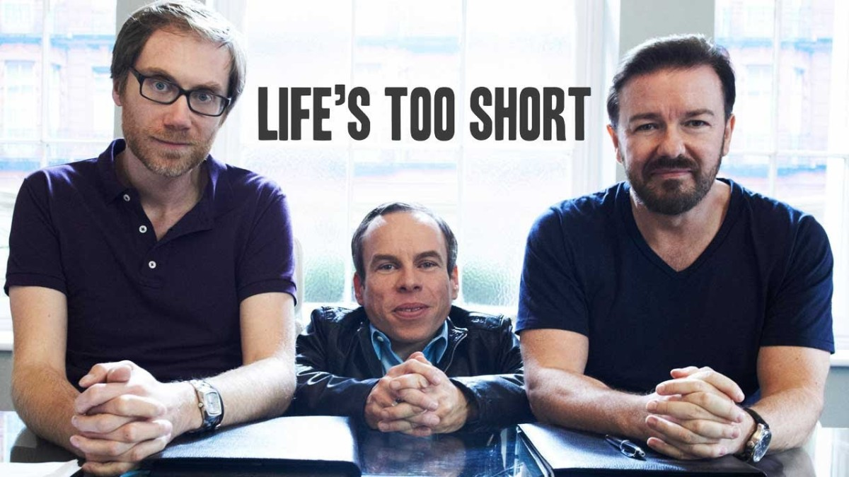 Ricky Gervais and Stephen Merchant created wrote, and co-produced this sitcom starring Warwick Davis.