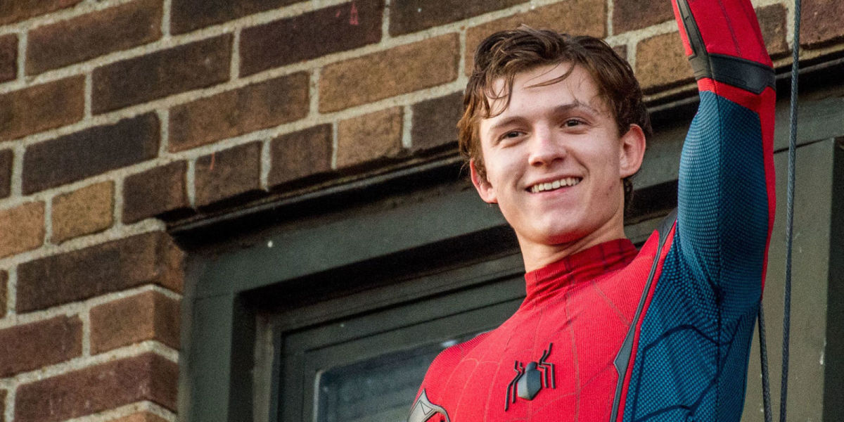 Tom Holland as Peter Park/Spider-Man.