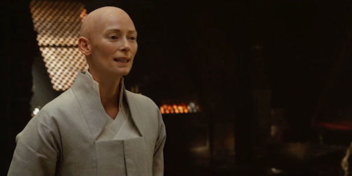 Tilda Swinton as the Ancient One in Doctor Strange.