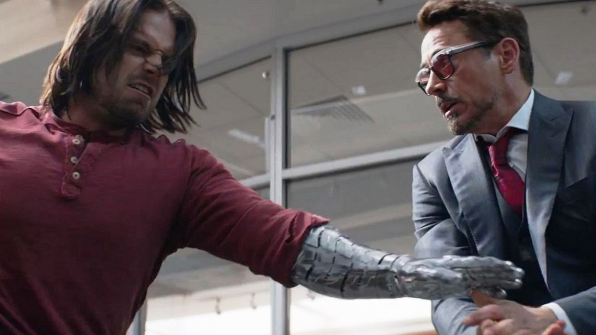 Sebastian Stan & Robert Downey Jr. in Captain America: Civil War.
