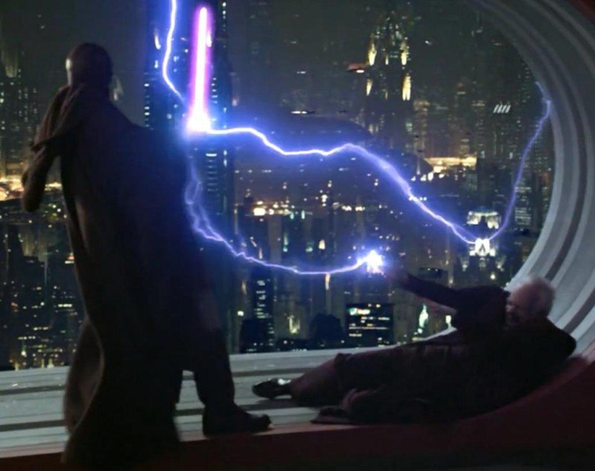 Mace deflects Palpatine's Force Lightning
