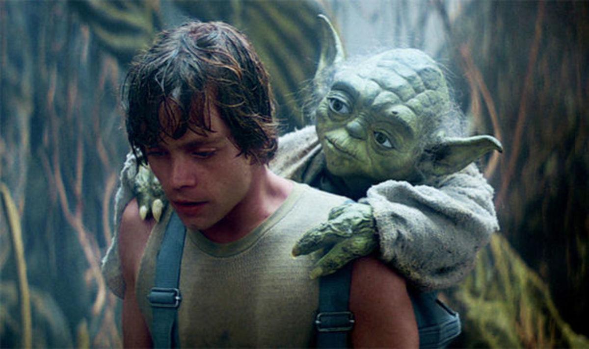 Luke and Yoda in The Empire Strikes Back