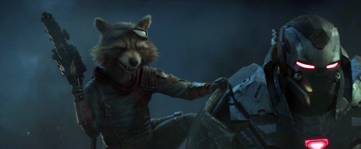 "Rocket Raccoon in, ""Avengers: Endgame,"" raising the awesome since the events of, ""Avengers: Infinity War."""