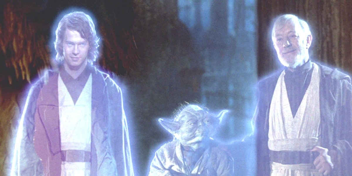 Anakin, Yoda, and Obi-Wan as Force spirits