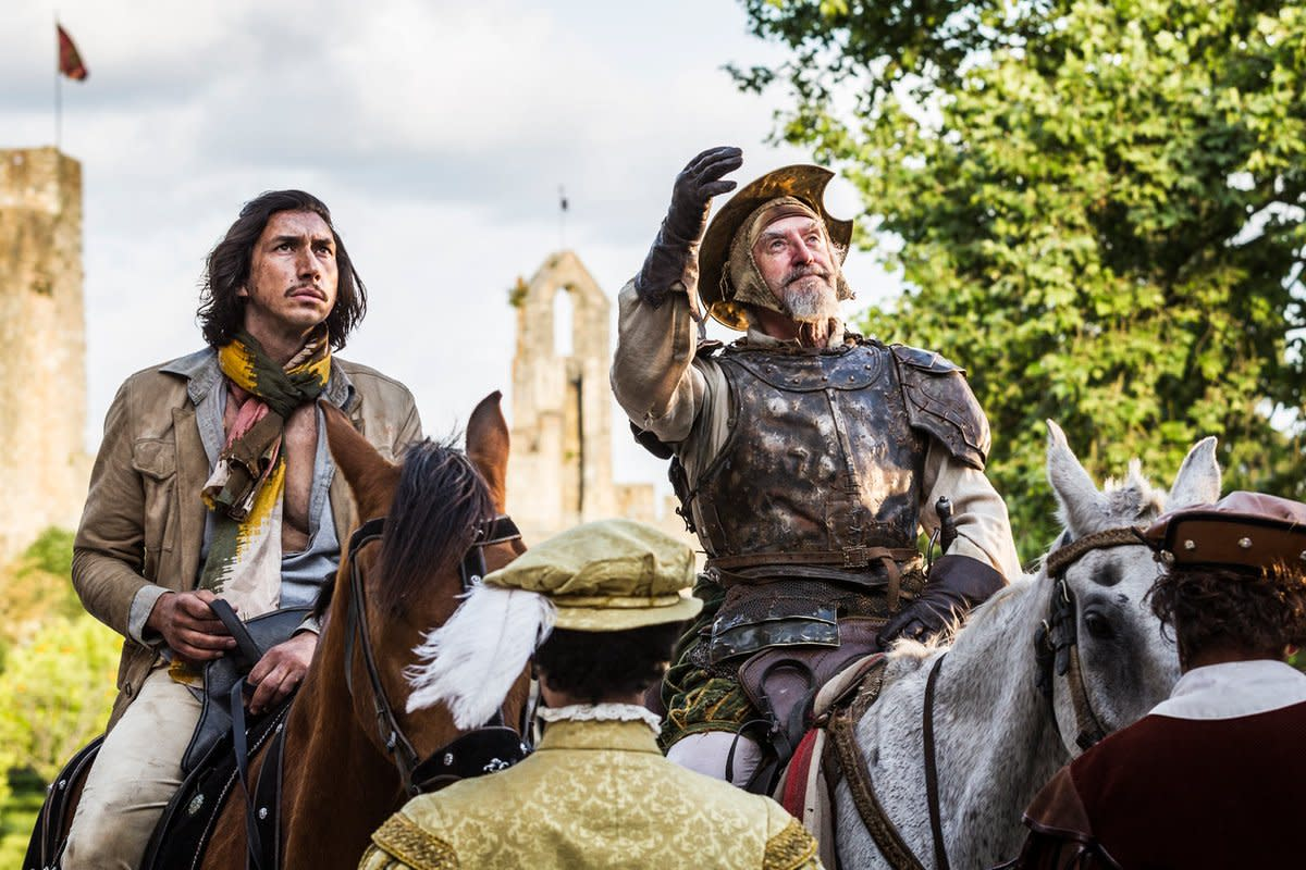 "Adam Driver and Jonathan Pryce as Toby and Don Quixote in, ""The Man Who Killed Don Quixote."""
