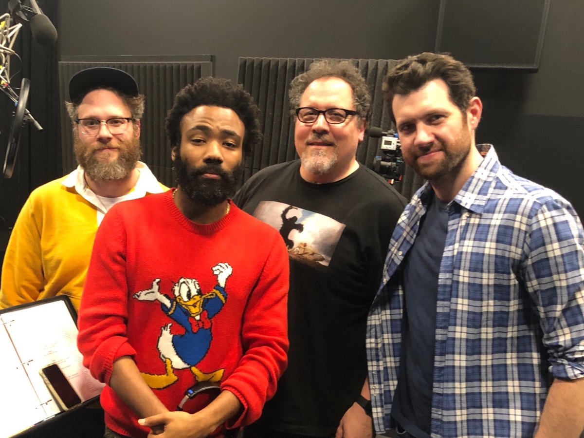 Behind the scenes (from left to right): Seth Rogen (Pumbaa), Donald Glover (Simba), Jon Favreau (director) and Billy Eichner (Timon)