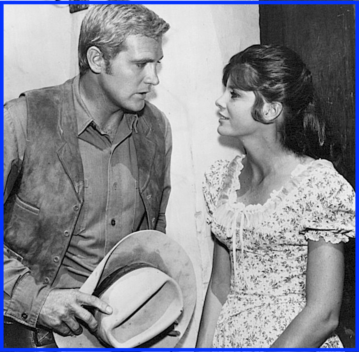 Robert Redford and Paul Newman weren't the first cowboys to fall under Katharine Ross' spell.  Here she appears with Lee Majors in a guest appearance on the TV series Big Valley.