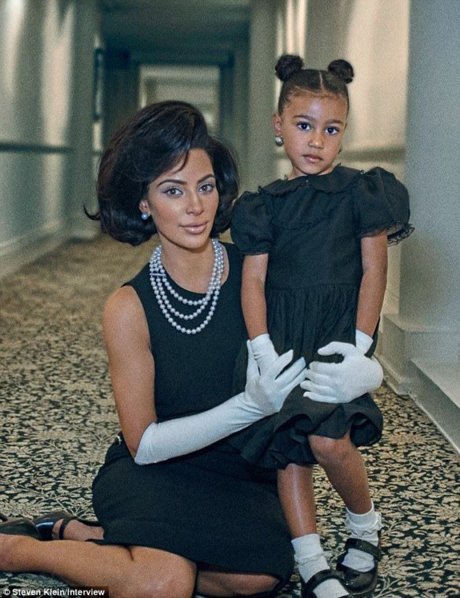 Kim and daughter, North, are dressed for a photoshoot with Steven Klein.