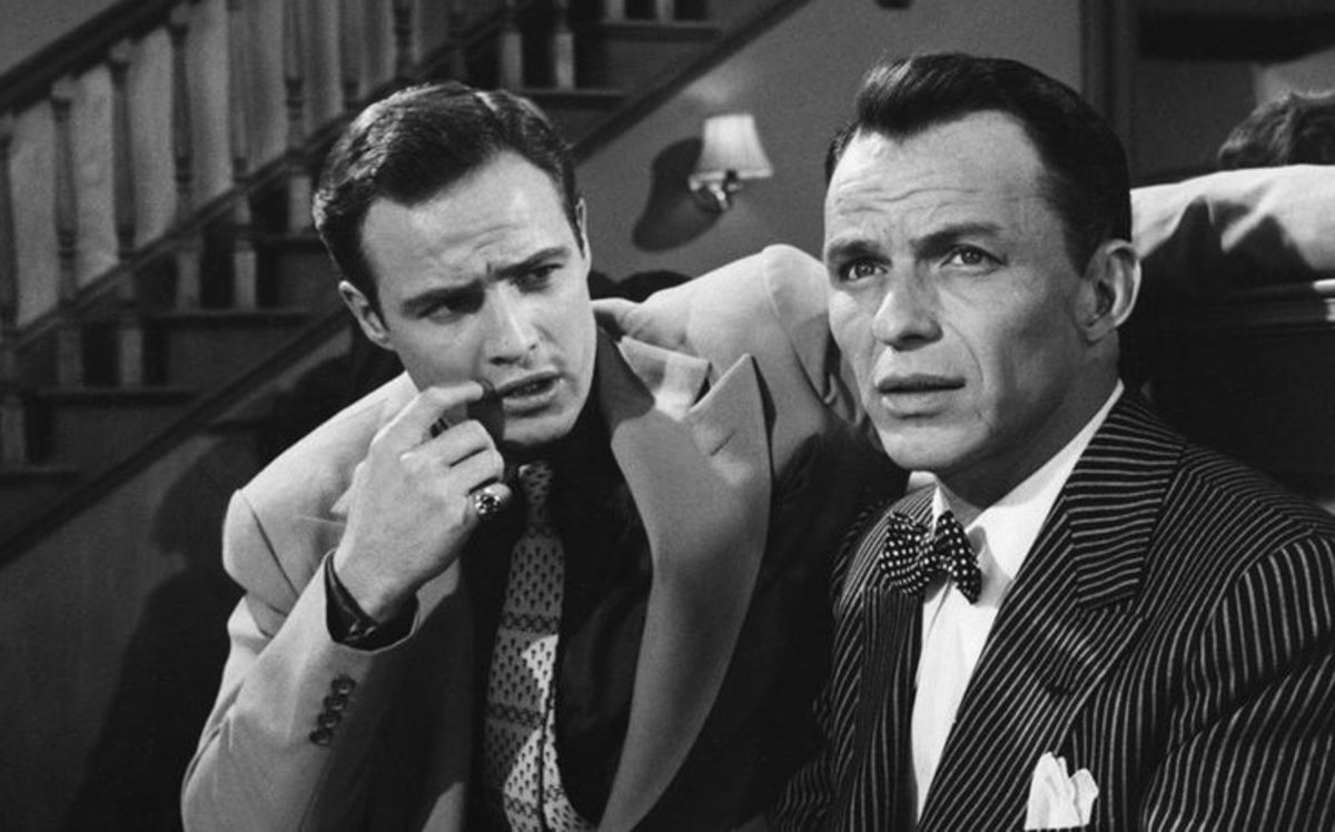 Rivals Marlon Brando & Frank Sinatra in Guys and Dolls.