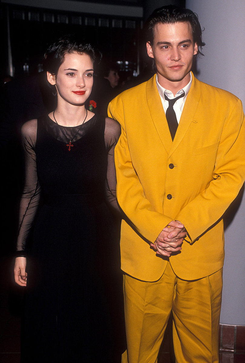 Johnny Depp and then-girlfriend Winona Ryder at the premiere of 1990's Cry-Baby.