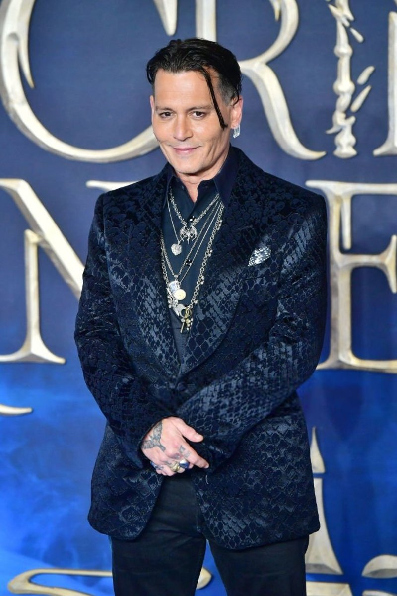 Johnny Depp at the premiere of 2018's Fantastic Beasts: The Crimes of Grindelwald.