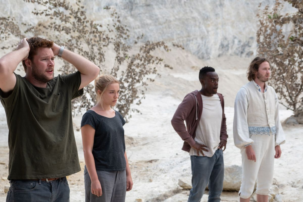 "Christian (Jack Reynor), Dani (Florence Pugh), Josh (William Jackson Harper), and Pelle (Vilhelm Blomgren) in, ""Midsommar."""