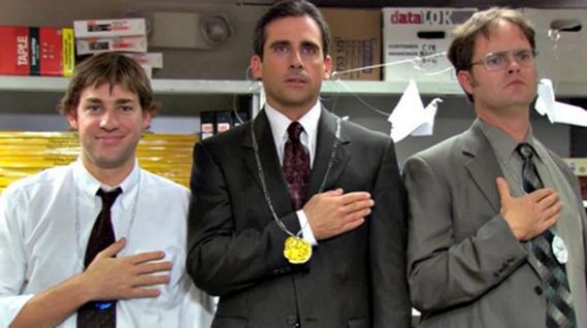 Jim (left), Michael (middle), and Dwight (right)