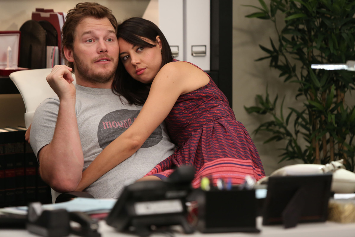 Chris Pratty & Aubrey Plaza.