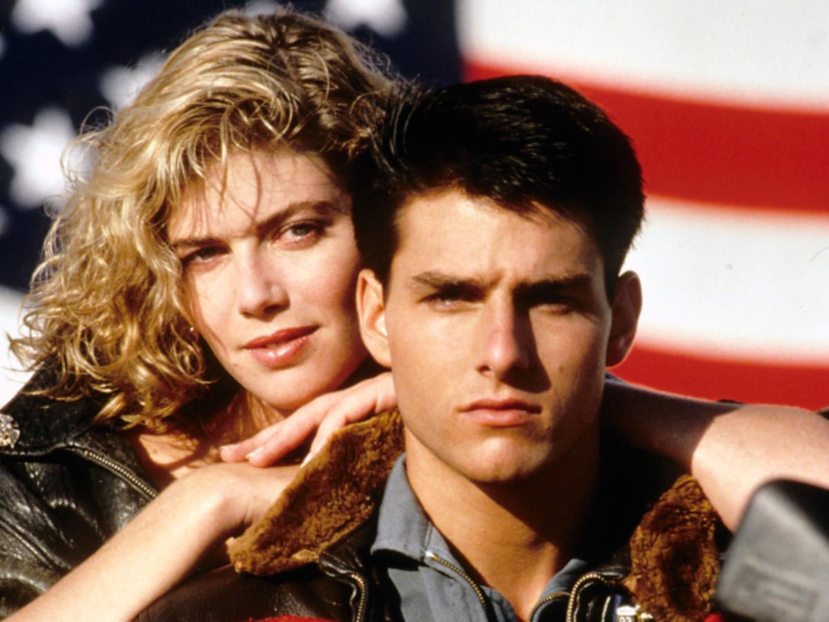 Kelly McGillis & Tom Cruise in Top Gun.