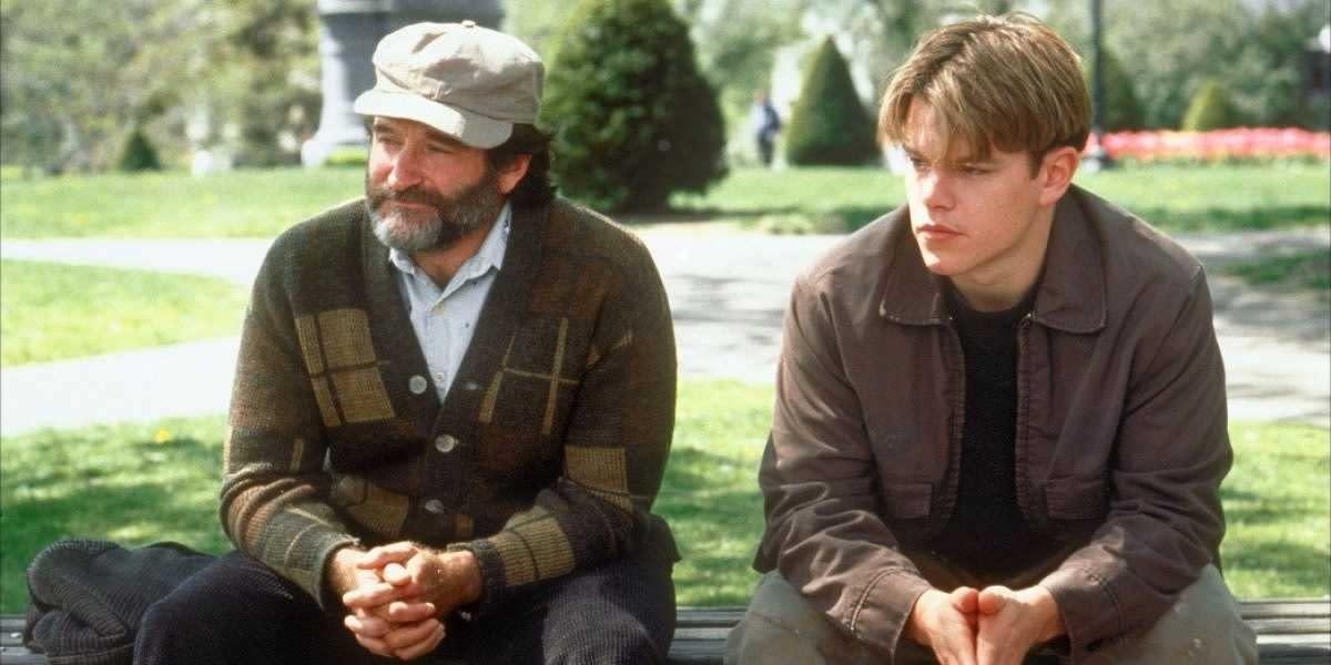 Robin Williams & Matt Damon in Good Will Hunting.