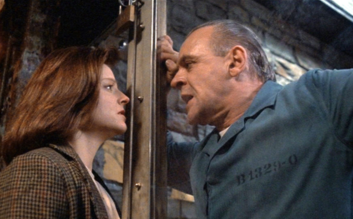 Jodie Foster & Sir Anthony Hopkins in The Silence of the Lambs.