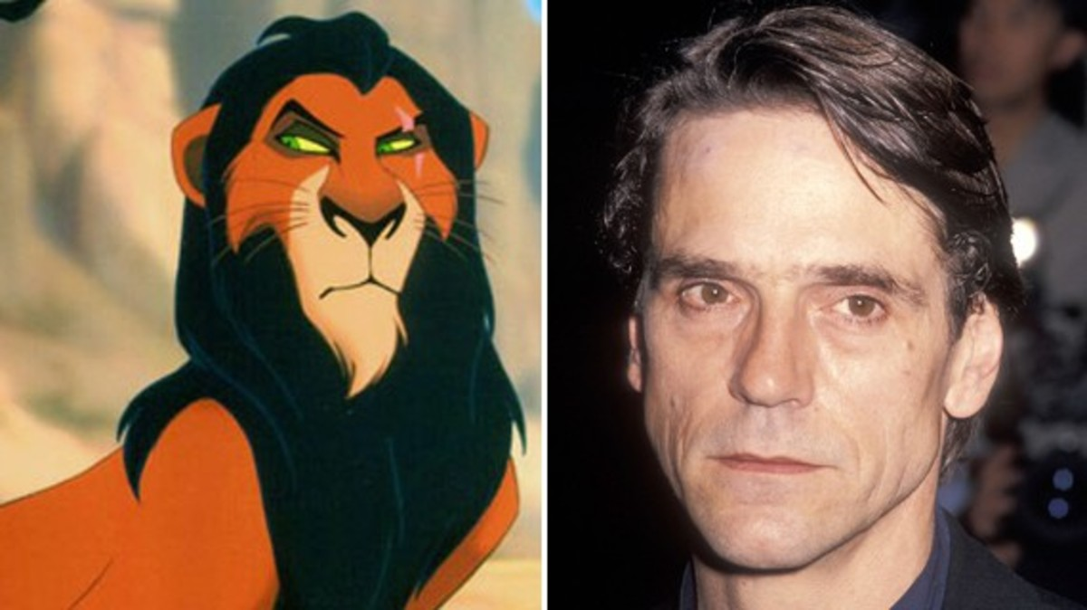 Jeremy Irons and his character Scar in The Lion King.