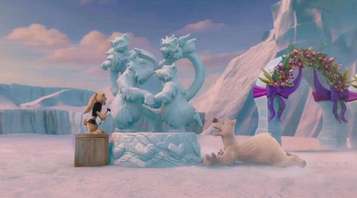 Running joke of ice sculptures breaking...