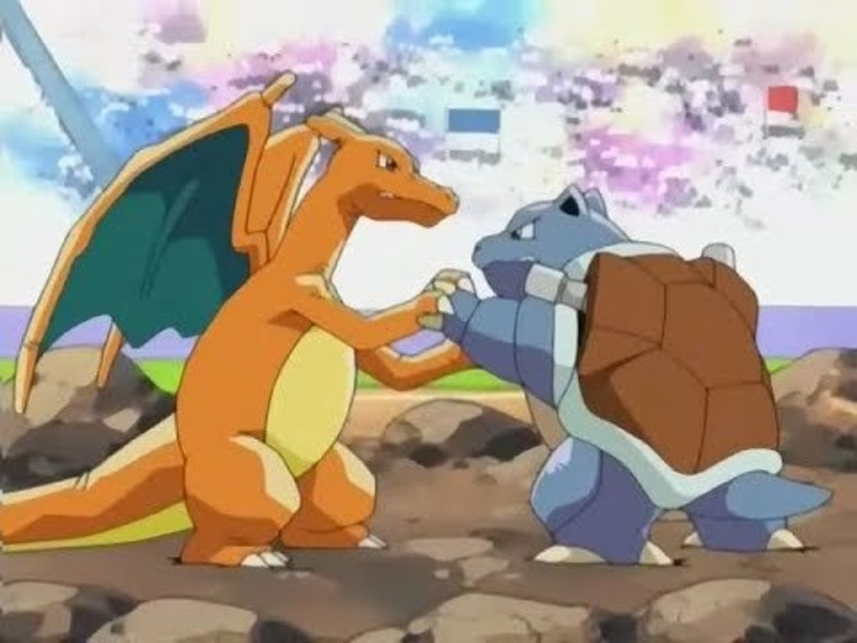 Ash's Charizard vs Gary's Blastoise