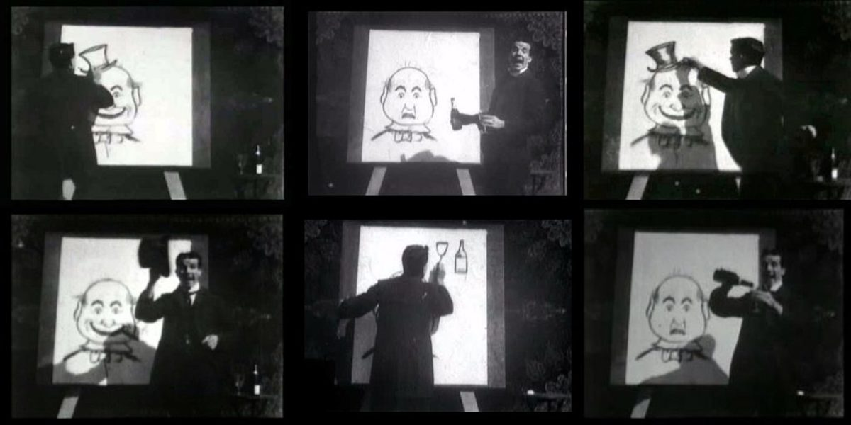 "J. Stuart Blackton's ""The Enchanted Drawing"", one of the earliest attempts at stop-motion animation."
