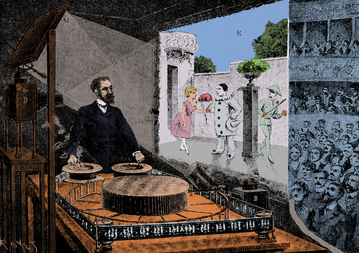 "Reynaud's ""Theatre Optique"" invention, which used used two projectors, projecting animated drawings onto a background."