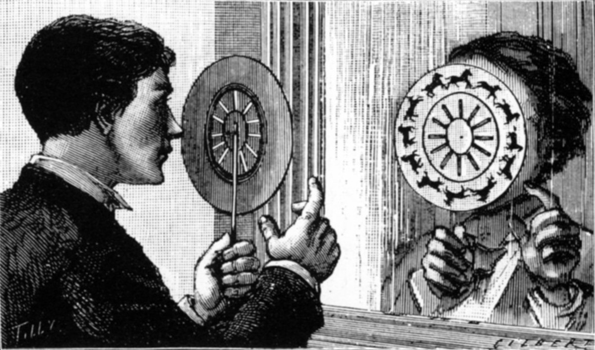 A person using a Phénakisticope, which when spun created a moving image.