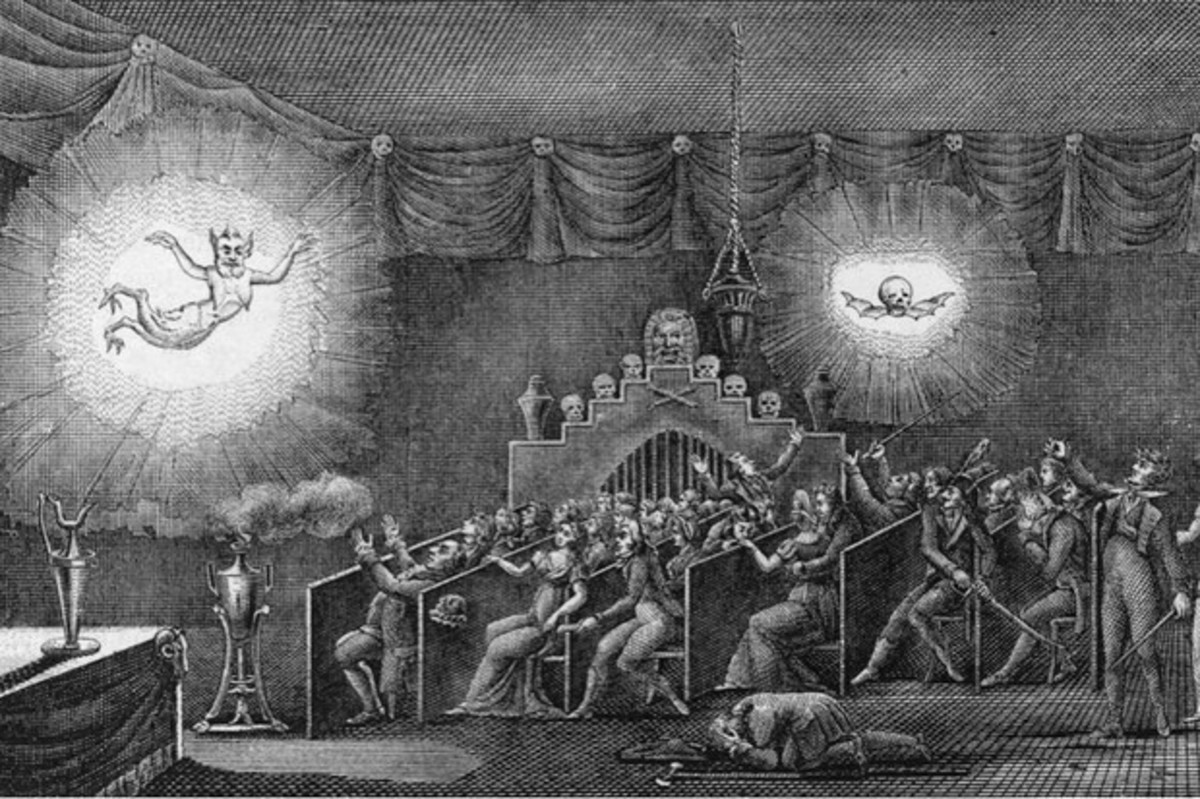 "A ""Phantasmagoria"" performance, using the Magic Lantern to create the illusion of ghosts."