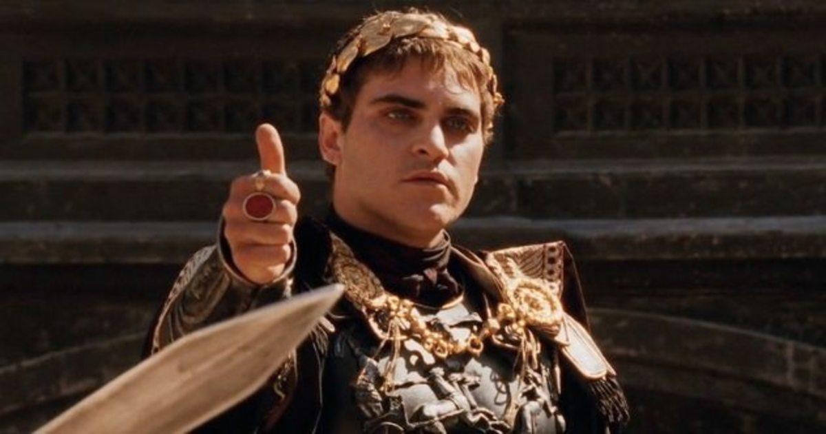 Joaquin Phoenix as Emperor Commodus.