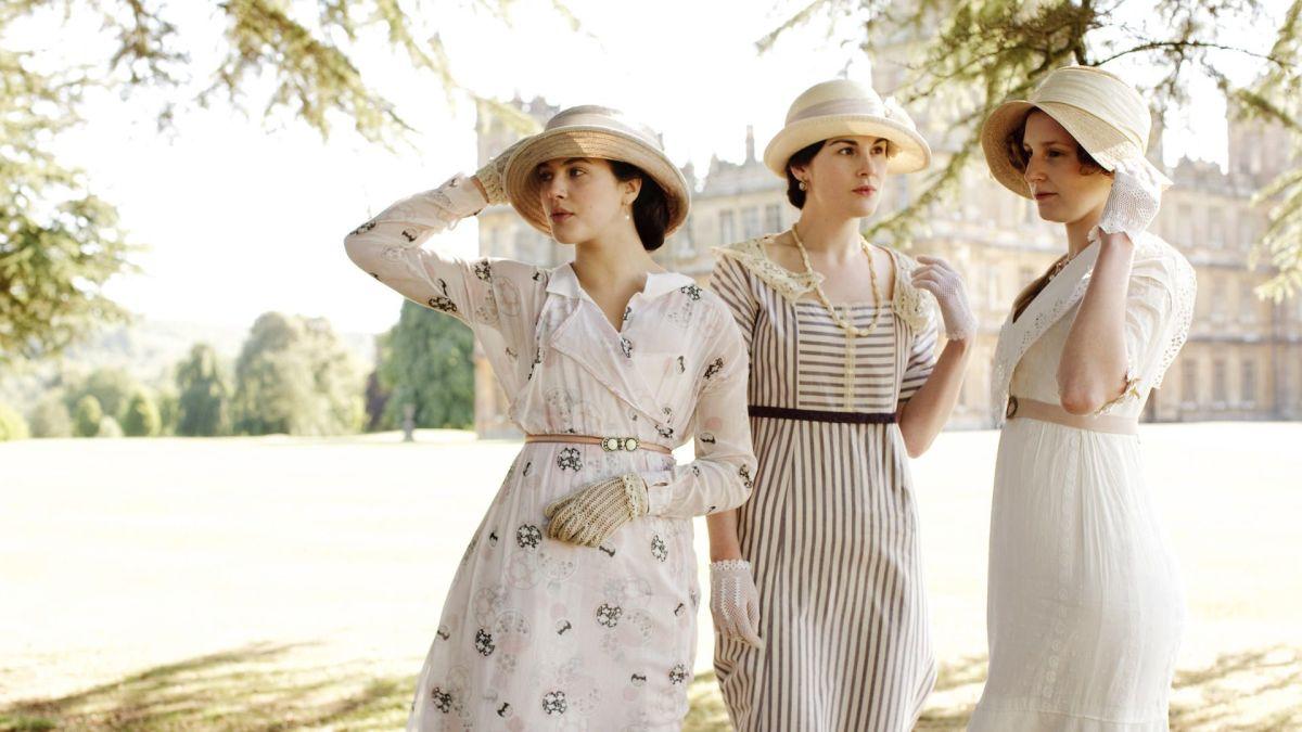 The Crawley sisters. Jessica Brown Findlay as Lady Sybil Crawley, Michelle Dockery as Lady Mary Crawley, and Laura Carmichael as Lady Edith Crawley.