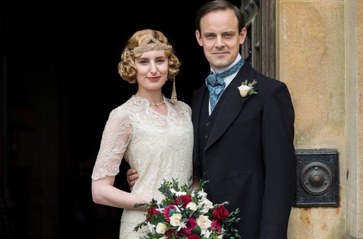 The newlyweds. Laura Carmichael as Lady Edith Crawley and Harry Haddon-Paton as Bertie Pelham.