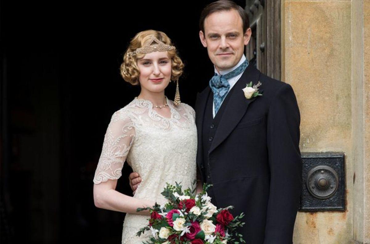 The newlyweds. Laura Carmichael as Lady Edith Crawley and Harry Haddon-Paton as Bertie Pelham.